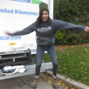 Jumping out of a truck in happiness