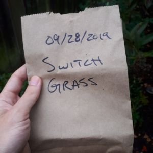 "Paper bag that reads, ""09/28/2019 switch grass"""