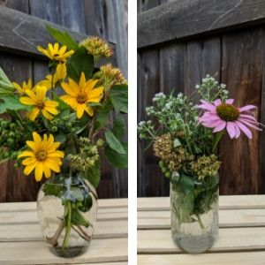 Two side-by-side photos of vases filled with native flowers, leaves and cuttings