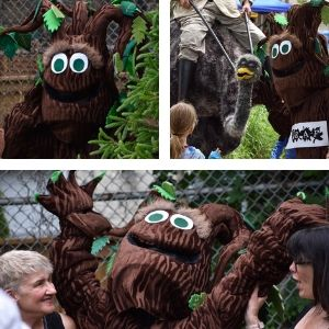 LEAF's tree mascot, Barkley, making friends with trees, event participants and more