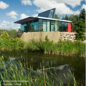 © 2008 Caitlin Carpenter Glass building overlooking a pond