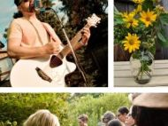 1) Man with a guitar 2) A vase with native flowers 3)People looking at a shrub