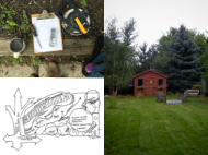 Landscape architecture tools, a map, and a finished yard.
