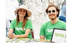 Outreach volunteers hosting a pop-up booth