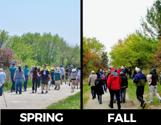 © 2018 David Slaughter & Kanchan Maharaj / LEAF: images side-by-side of the tour group in the spring and fall