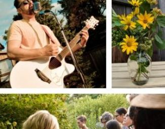 Picture collage. 1) Man singing with a guitar. 2) A vase with native flowers. 3) People looking closely at a shrub in a garden.