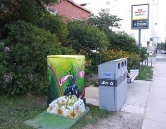 St Clair Garden with a painted Bell Box and a sign for the TTC