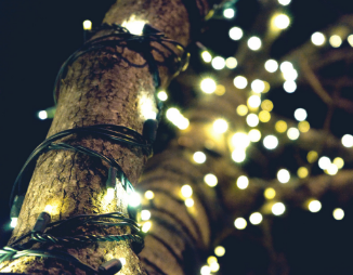 Zoom in of decorative lights around a tree shining prettily at night