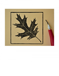 Stamp of an oak leaf with carving tool for size