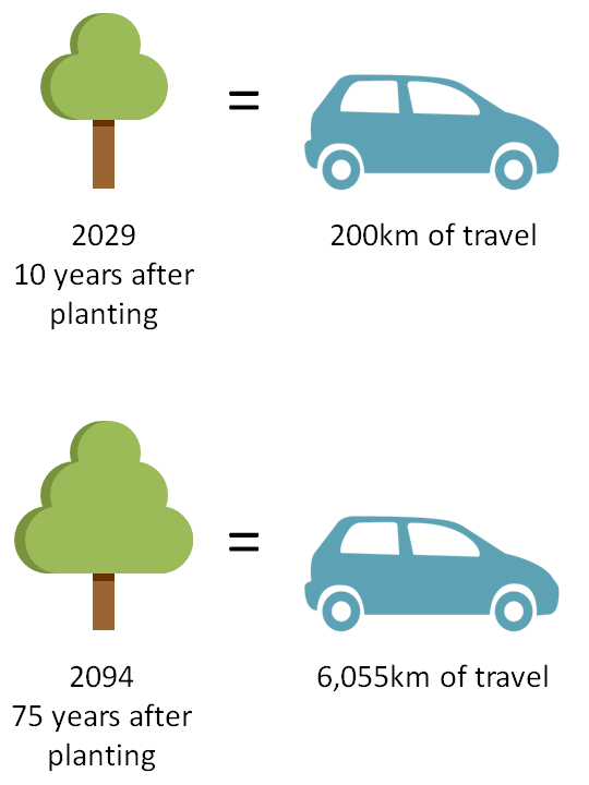 By 2029, equivalent of 200 km of travel; by 2094, equivalent of 6,055 km of travel