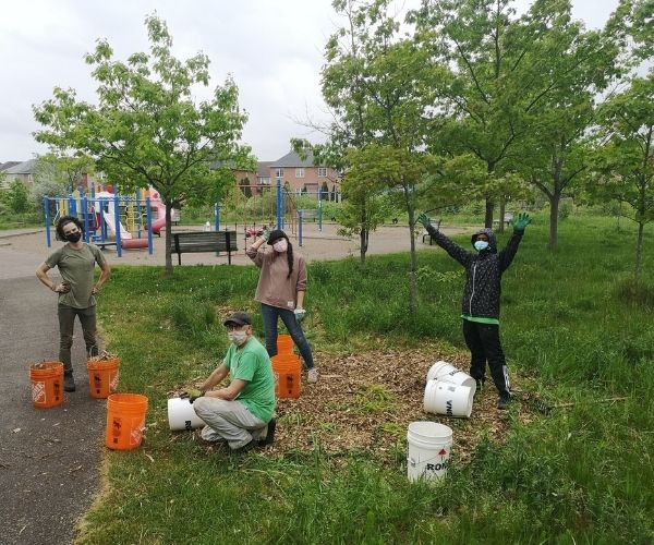 LEAF team planting in Ecopark